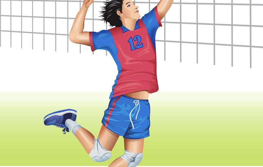 volleyball player in red and blue uniform