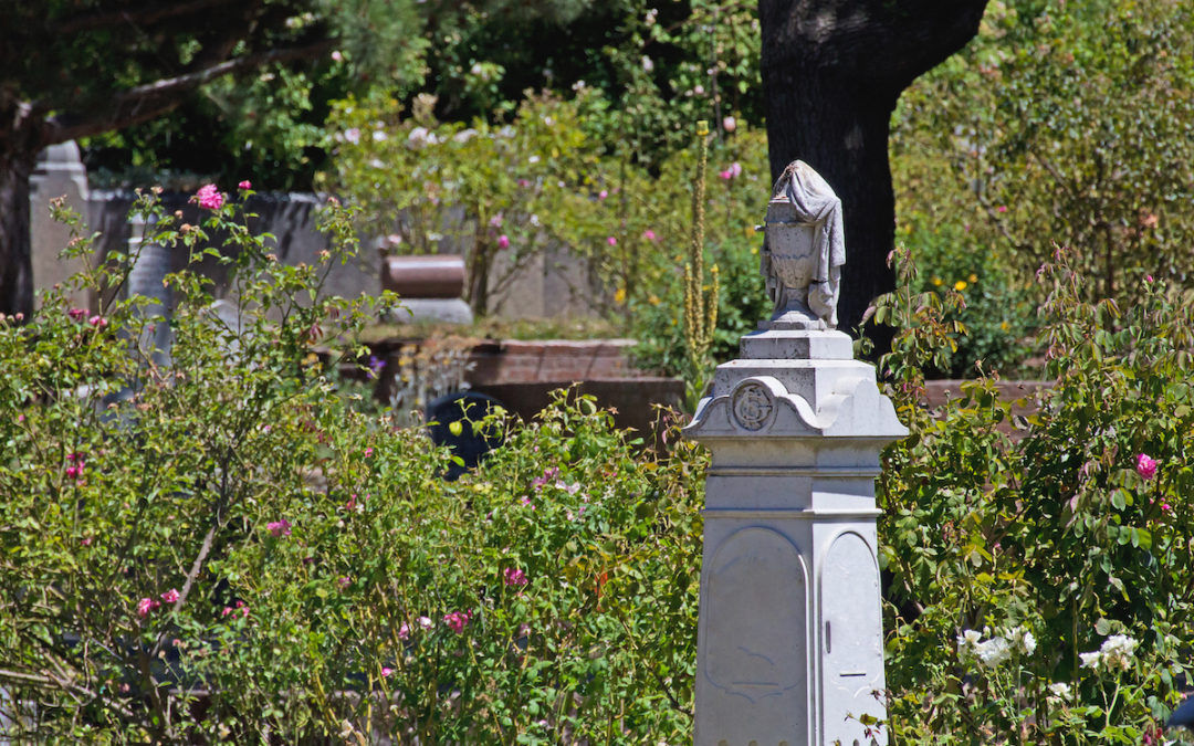 cemetery field old ornate tombstones