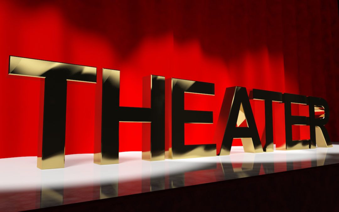 Theater Word On Stage Representing Broadway